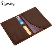 Slymaoyi Vintage Men Genuine Leather Passport Cover Travel Passport Holder Bag Passport Case Wallet License Credit