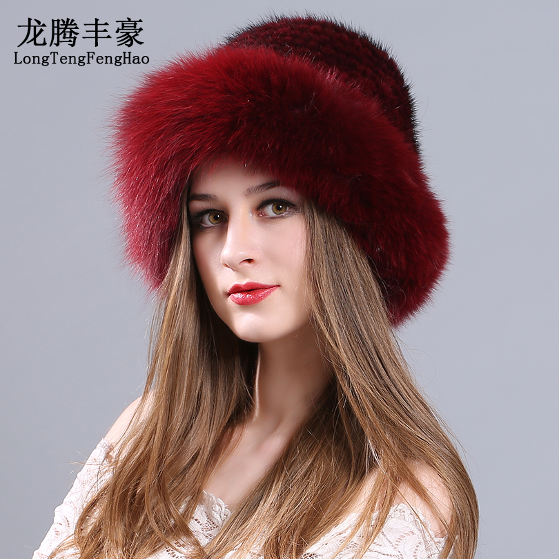da7cbbaabc7 Mink fur cap Knitted Hats female beanies with fox fur pom poms Genuine fur  Princess Hat