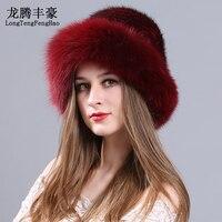 Mink fur cap Knitted Hats female beanies with fox fur pom poms Genuine fur Princess Hat natural fur Russian caps elastic beanies