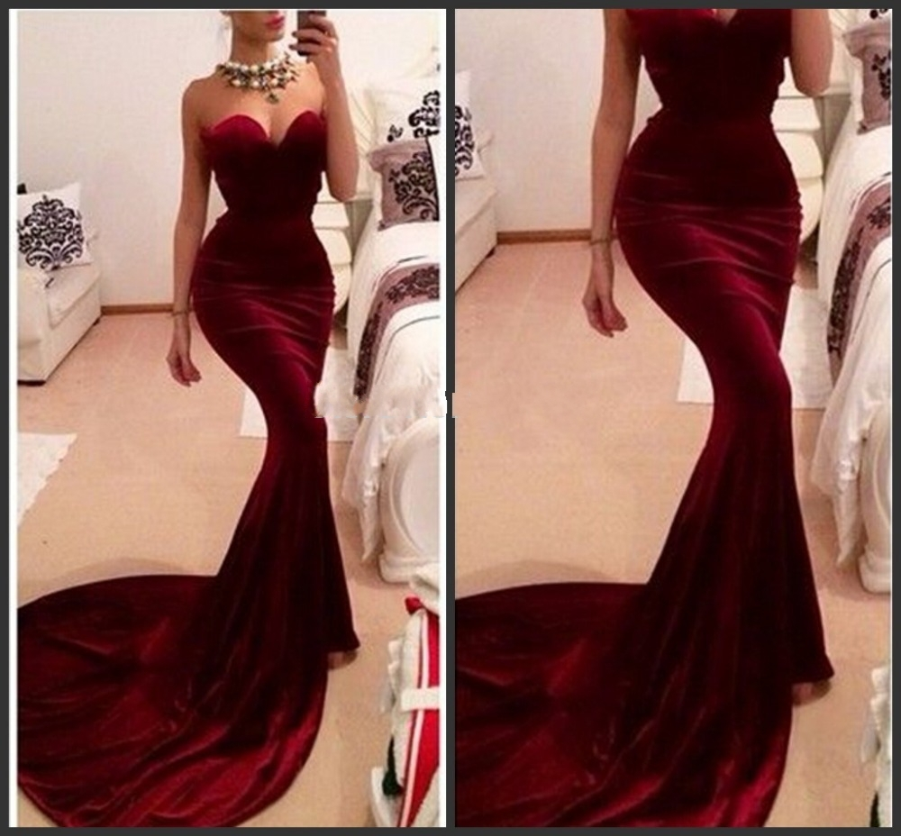 Unique designer burgundy mermaid prom dresses 2017 women long train flattered fitted red wine velvet elegant
