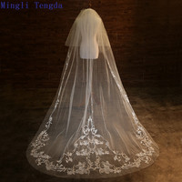 2017 New Wedding 2.8 M Long Two Layers Veil With Comb Ivory Luxury Butterfly Sequins Embroidered Sequined Wedding Accessories