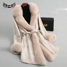 本物の天然毛皮のコートフードスエードリアルファージャケットキツネの毛皮の襟袖口とラビットファーライナー女性オーバーコート高級 BFFUR