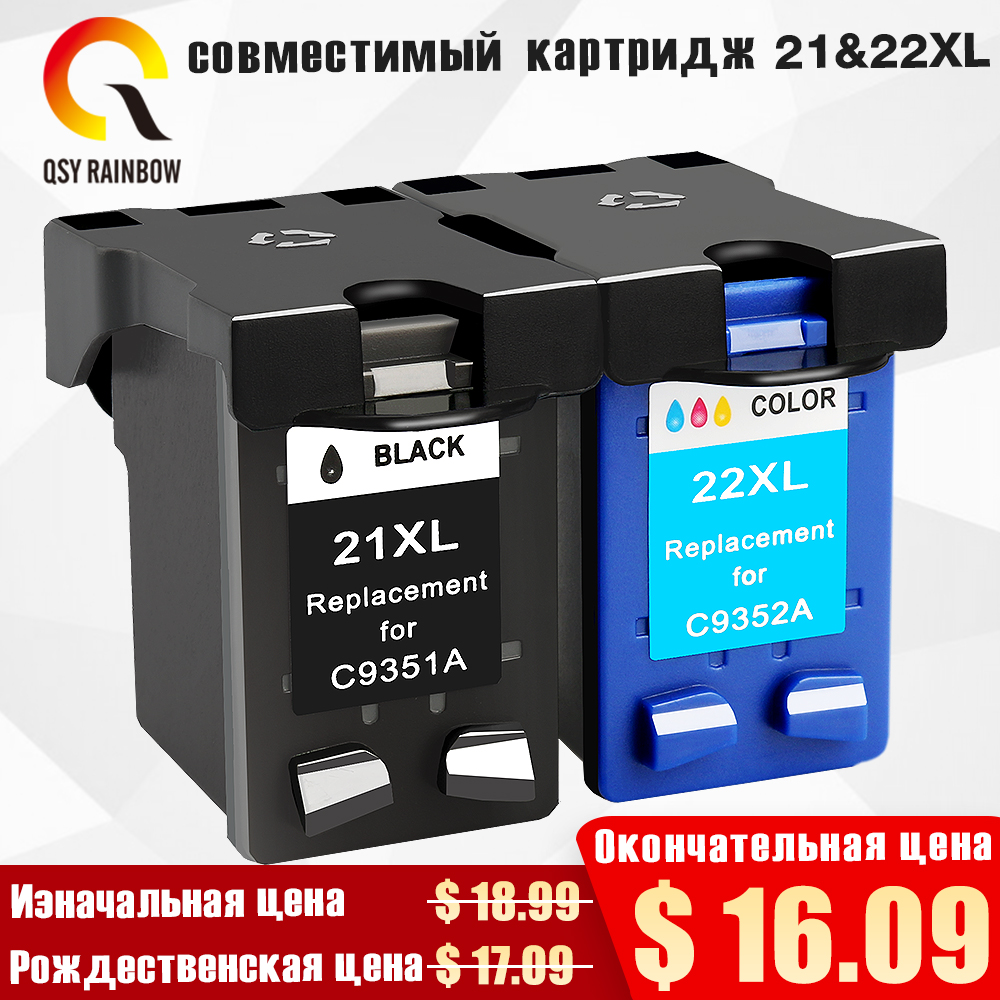 QSYRAINBOW Remanufactured ink <font><b>cartridge</b></font> For <font><b>HP</b></font> <font><b>21</b></font> <font><b>22</b></font> for <font><b>HP</b></font> 21xL 22XL Deskjet F380 F2280 3910 3915 3918 3920 3940 D1530 image