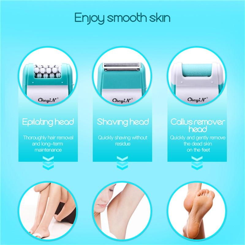Image 5 - 3 In 1 Electric Epilator Women Hair Removal Painless Shaving Foot File Pedicure Tools Machine Female For Face Bikini Body Leg 49Epilators   -