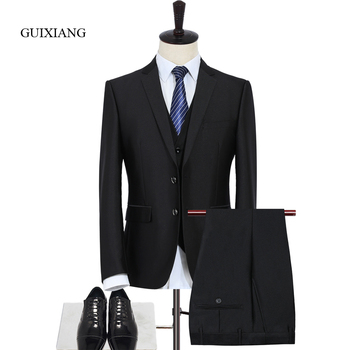 2018 New Arrival Style men boutique suits high-quality business casual solid slim men three piece suits(Jacket, Vest and Pants)
