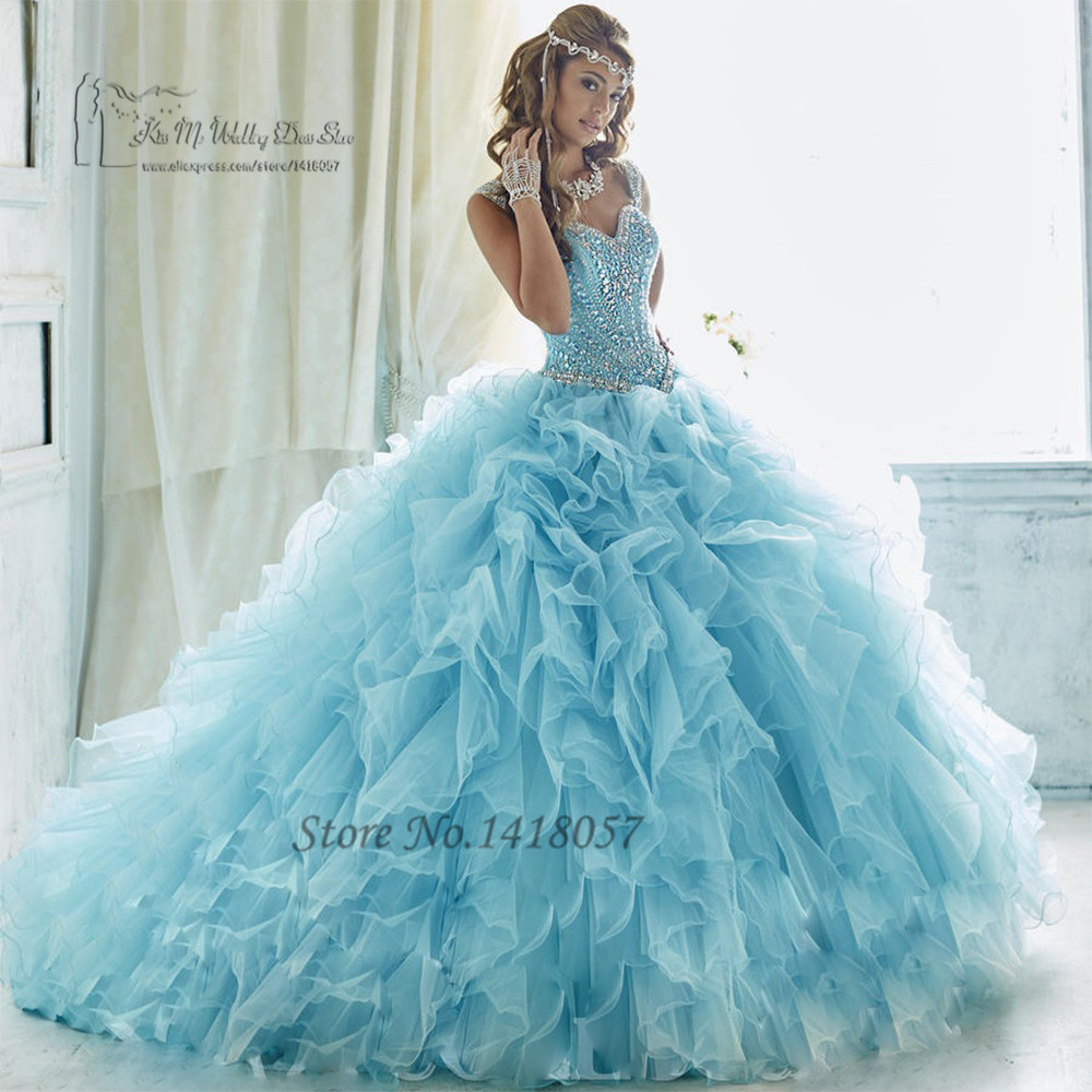 Baby Blue Luxury Turquoise Quinceanera Dresses 2017 Vestidos de 15 Anos Sweet 16 Dresses Ball Gowns Debutante Gowns Rhinestones