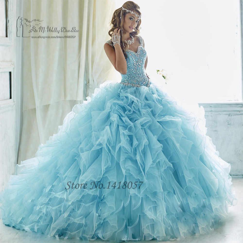 38e0f1f60 Baby Blue Luxury Turquoise Quinceanera Dresses 2017 Vestidos de 15 Anos  Sweet 16 Dresses Ball Gowns