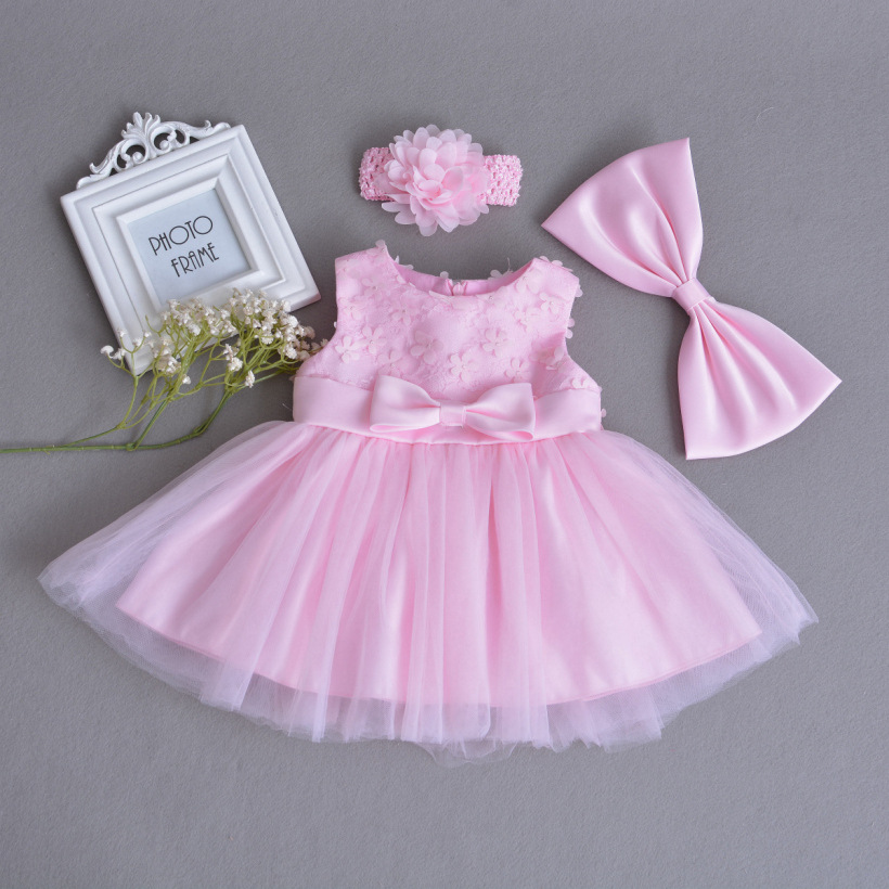 Baby Girls Dress Pink Lace Flower Clothes Wedding Party Gown Infant Dresses Newborn 1 Year Birthday Baby Dress Girl Clothes 0-2T jioromy big girls dress 2017 summer fashion flower lace knee high ball gown sleeveless baby children clothes infant party dress