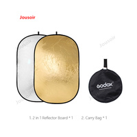 Godox 2 in 1 collapsible 100x150cm Lighting Diffuser Rectangle Reflector Disc Gold Silver with Bag Photography Accessory CD50T03