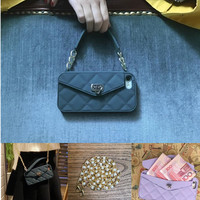 New Wallet Purse Card Bag Women Handbag Silicone Phone Case Cover With Pearl Long Chain For