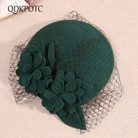 QDKPOTC Elegant Female Fedoras Wool Felt Mesh Floral Formal Berets for Women Wedding Banquet Fedora Hats