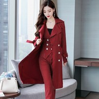 New Red Striped Womens Suit Fashion Double Breasted Slim Fit Business Suits Ladies 3 Pieces Women Suit Elegant Luxury 2018 New