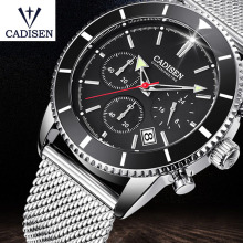 Mens Watches Top Brand Luxury Waterproof Wrist Stainless Steel Date Simple Casual Quartz Watch Men Sports Clock CADISEN