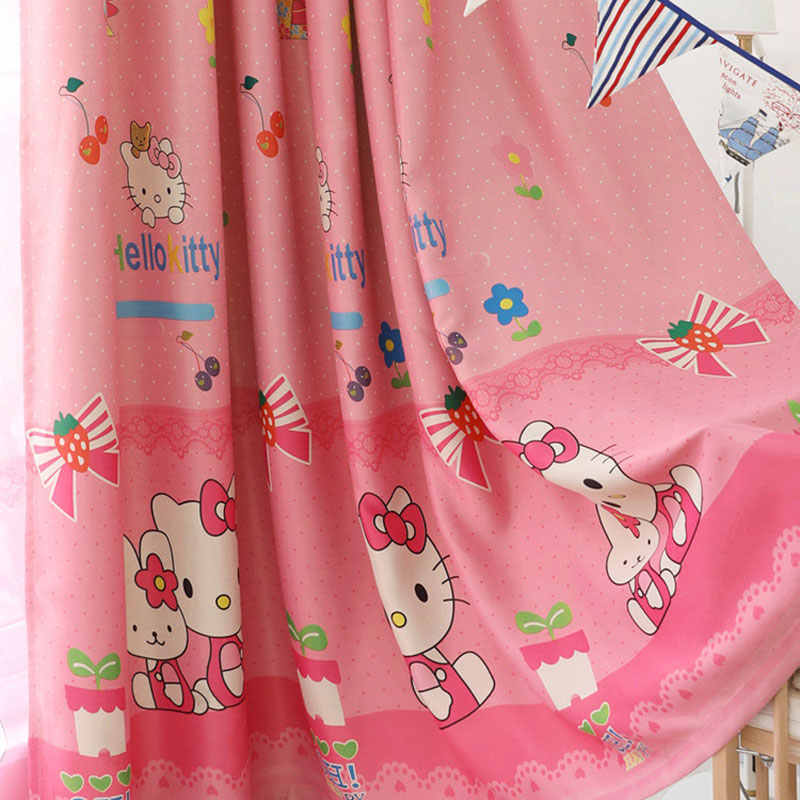 Pink Princess Cartoon Cat Curtains For Living Room Children Blackout Customized Finished Curtains For Baby Girls Bedroom WP299&2