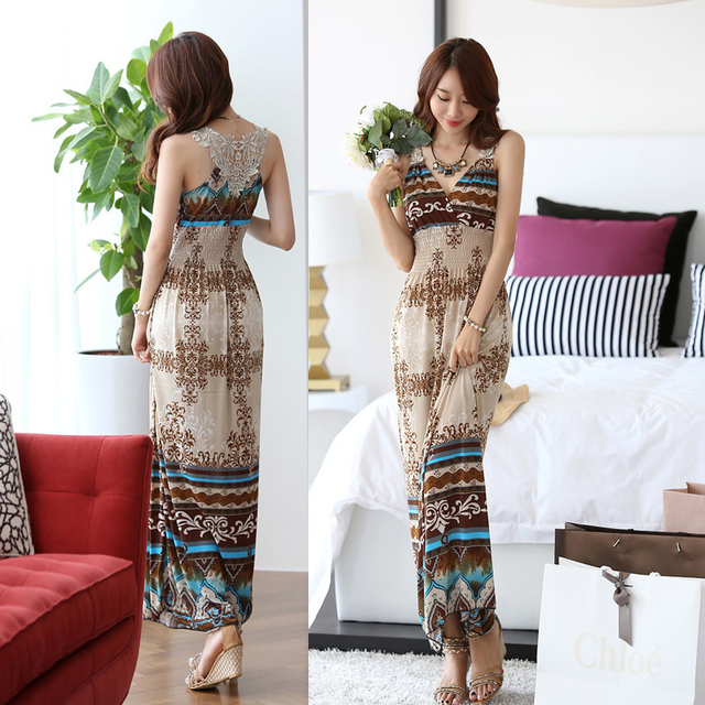 Wholesale 2014 bohemia beach print V-neck full dress holidaying summer slim one-piece dress