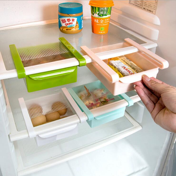 Mini ABS Slide Kitchen Fridge Freezer Space Saver Organization Storage Rack Bathroom Shelf image