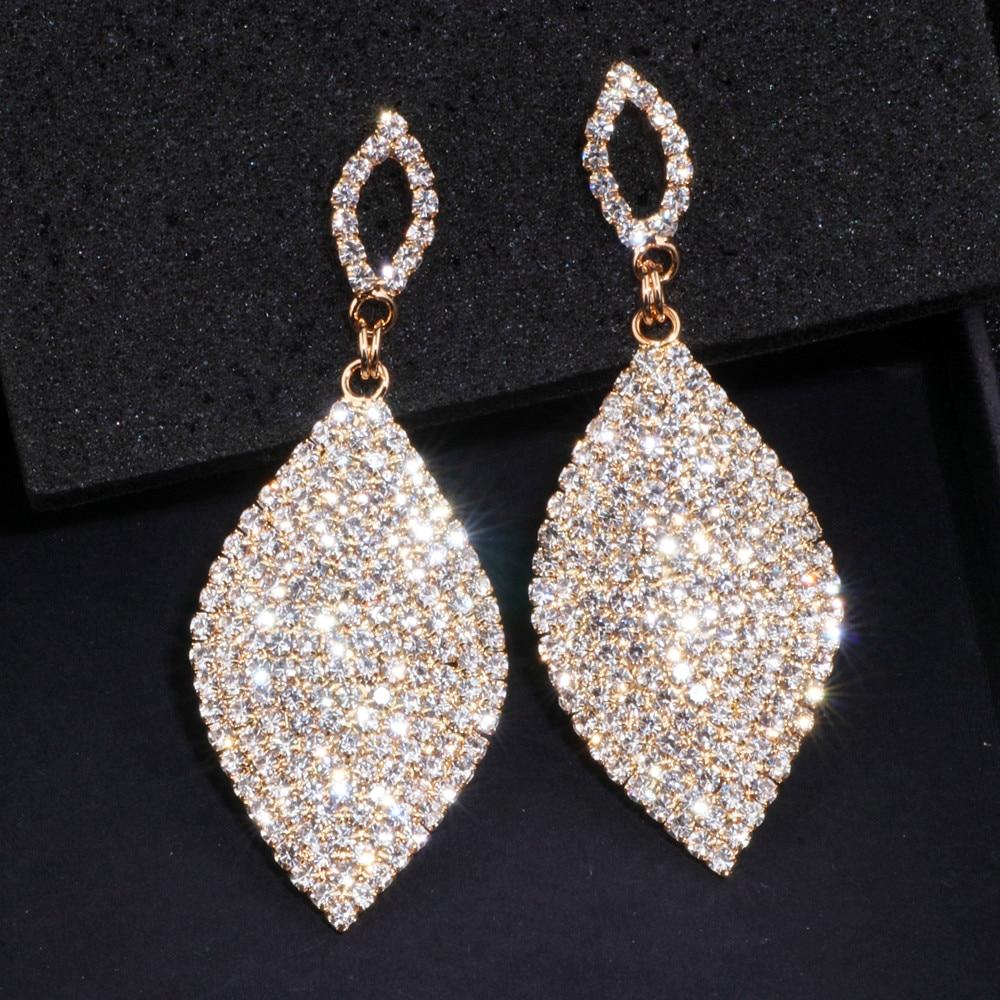 Classical Large Drop Earrings Bride Teardrop Shape Crystal Earrings for Women Rhinestone Dangle Wedding Earring Jewelry WX065