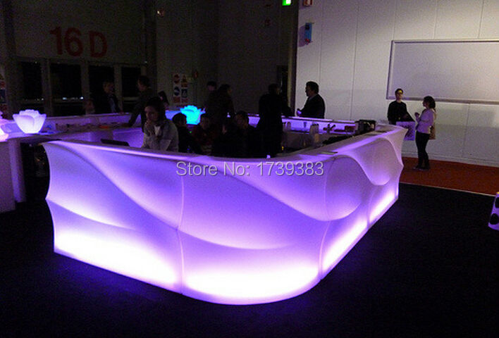 Italy Style Multi-Color Rechargeable LED JUMBO Ice Bar Counter  IR Control Luminous SLIDE STUDIO LIGHT FURNITURE SmartBar