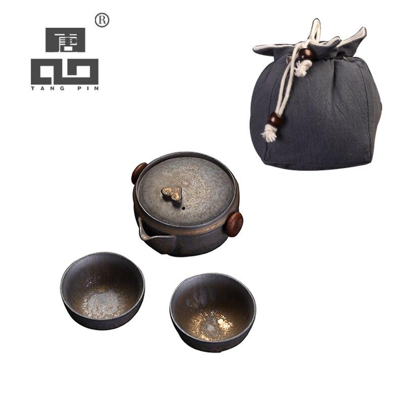 TANGPIN Ceramic Teapot Gaiwan With 2 Teacups For Puerh Tea Pot Set Portable Travel Tea Set With Bag