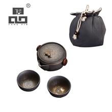 цена на TANGPIN ceramic teapot gaiwan with 2 teacups for puerh tea pot set portable travel tea set with bag