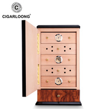 High Gloss Cigar Humidor Cabinet Box Cedar Wooden Cigars Case W/ Humidifier Hygrometer For COHIBA CLA-0081-2