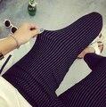 Весна Большой размер свободного покроя женщины карандашом эластичные тонкие шаровары капри черный белой полосой леггинсы брюки Большой размер женские брюки