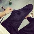 Resortes más el tamaño mujeres ocasionales del lápiz pantalones elásticos delgados del Harem Capris negro blanco raya Leggings pantalones tallas grandes mujer pantalones
