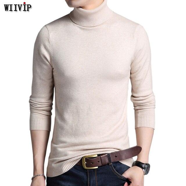 WIIVIP Color Sólido Pullover Invierno Suéteres Para Hombre