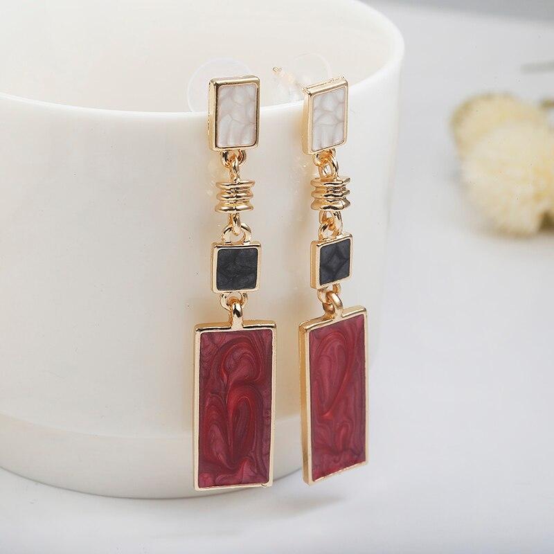 Mode carré Design boucles d'oreilles goutte rouge blanc noir couleur longue géométrique boucles d'oreilles mode mariage anniversaire Brincos 1