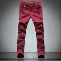 Fashion Men Jeans New Arrival Design Slim Fit Fashion Jeans For Men Good Quality Wine Red