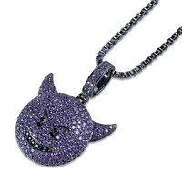 Lucky Sonny Evil Emoji Pendant Necklace Purple CZ Micro Paved Bling Charm Rappers' Fashion Hiphop Bling Pendants & Necklaces