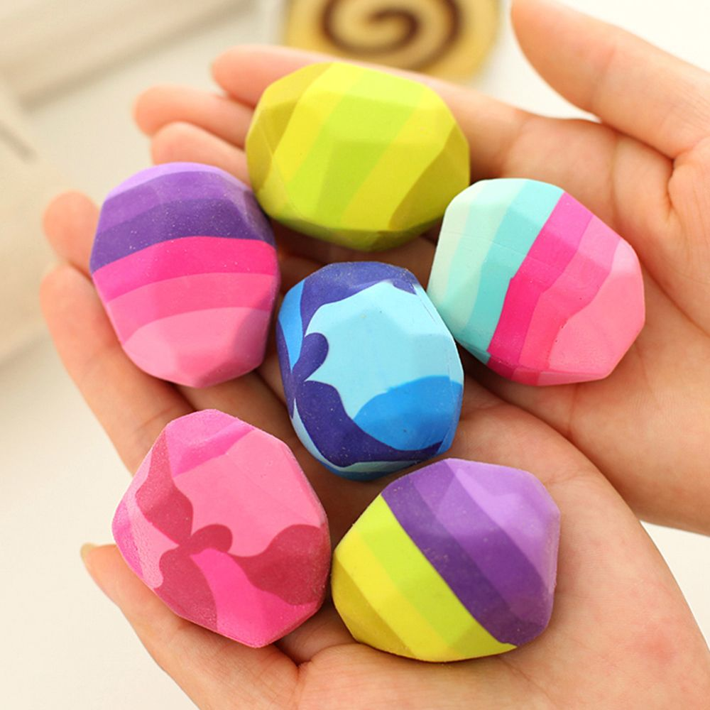 1pc Kawaii Colorful Stone Shape Eraser Geese In Soft Rubber Erasers Irregular Shape Rock Big Pen Eraser Student Gift