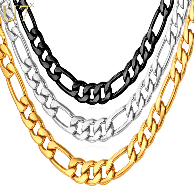 U7 Mens Necklaces Stainless Steel Black/Gold Color Dropshipping Wholesale 5MM Choker/Long Figaro Chain Necklace Men Jewelry N141