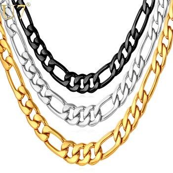 d77fb86fb68a U7 collares para hombres de acero inoxidable negro Color oro al por mayor  Dropshipping. exclusivo. 5 MM gargantilla Figaro collar de cadena de los  hombres ...