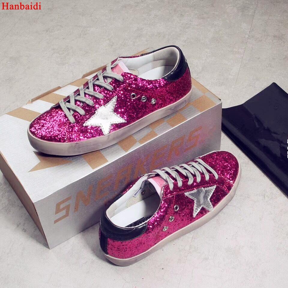 Hanbaidi Nouveau Bling Superstar Paillettes Tissu Femmes Sneakers Low Top Lace Up Femmes Casual Chaussures Glitter En Cuir Faire Vieux Sale chaussures