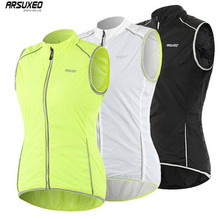 ARSUXEO Womens Cycling Vest Windproof Sleeveless Windbreaker MTB Bike Bicycle Jersey Reflective Outdoor Running Hiking Clothing
