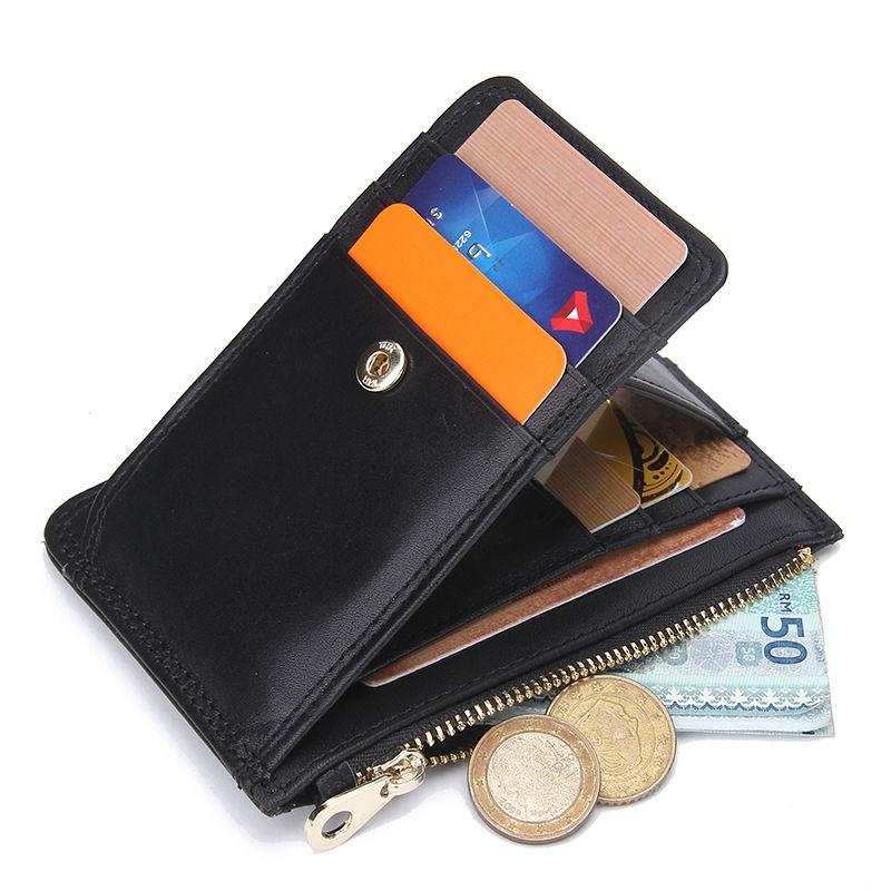 KAPCSOLAT - Márka valódi bőr kártya tartó férfi pénztárca Mini karcsú pénztárca érme erszényes szervező rövid hitelkártya tok tartó