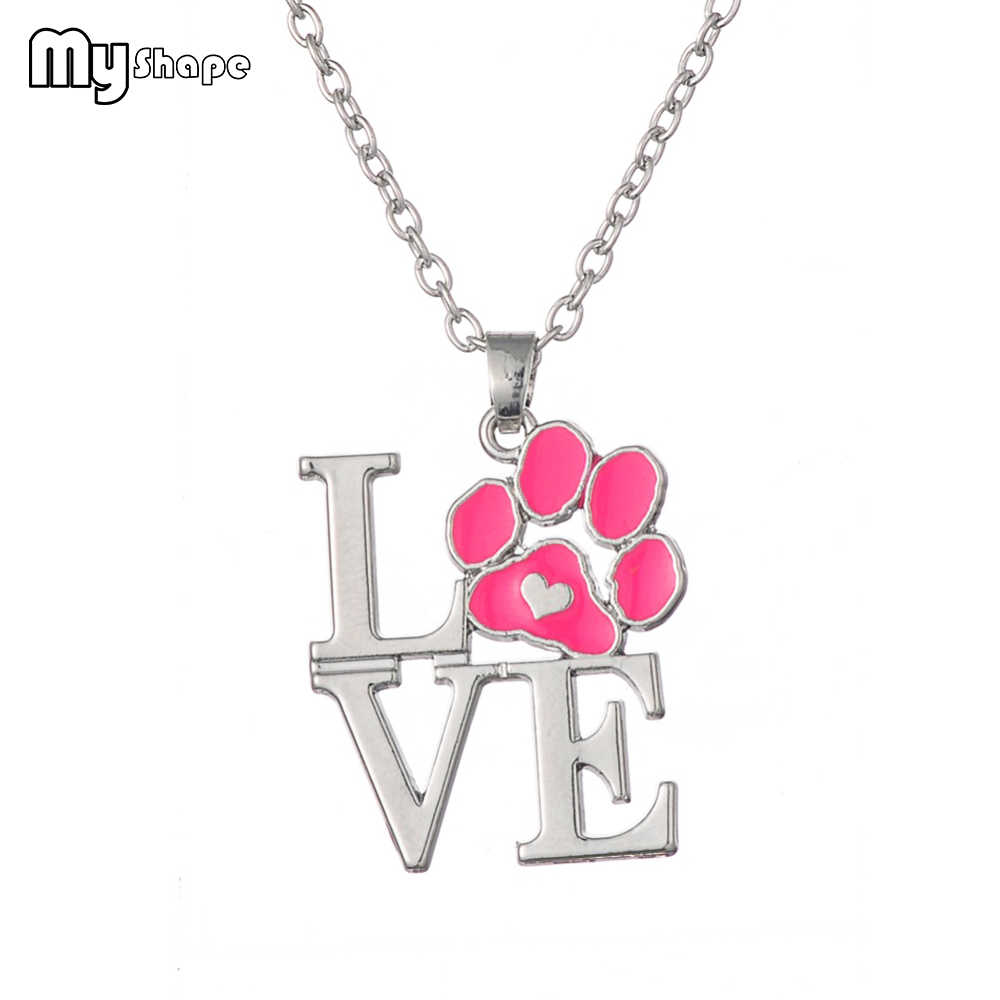 My Shape Pink red Enamel Animal Pet Dog Cat Paw Print Heart Pendant Necklaces Jewelry for Women Christmas Gift Dropshipping