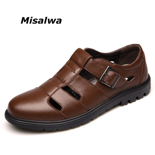 021bf7660ff0 Misalwa Hollow Breathable Men Durable Leather Sandals Classic Casual Men  Sandals For Work Office Summer Shoes