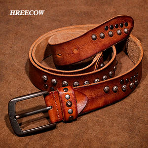 HREECOW Genuine Leather Belt For Man Designer Cowskin Jeans 591a479e6cb