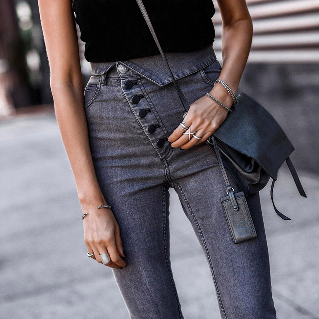 Vintage Ladies Sexy Jeans For Women Mom High Waist Buttons Lapel Jeans Gray Casual Pencil Pants Korean Street Skinny Jeans