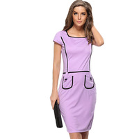 Noble Elegant Dress Summer Female White Collar Work Dress With Short Sleeve Special And Beautiful Pencil