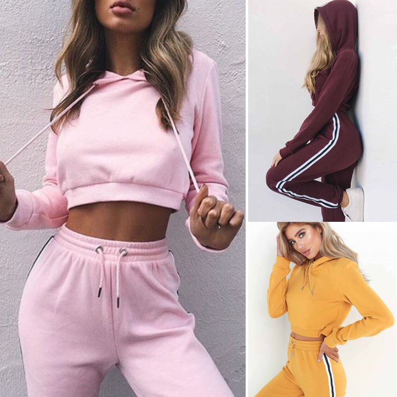 Women Set 2Pcs Solid Color Long Sleeve Hoodie Sweatshirt Tops + Long Pants Ladies Casual Sports Sweat Suit Running Tracksuit