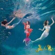 3Pcs Girl Mermaid Tail custome, 2017 Baby girl kids Mermaid Tail fancy Dress Swimmable Bikini Set Купальный костюм Cosplay Costume
