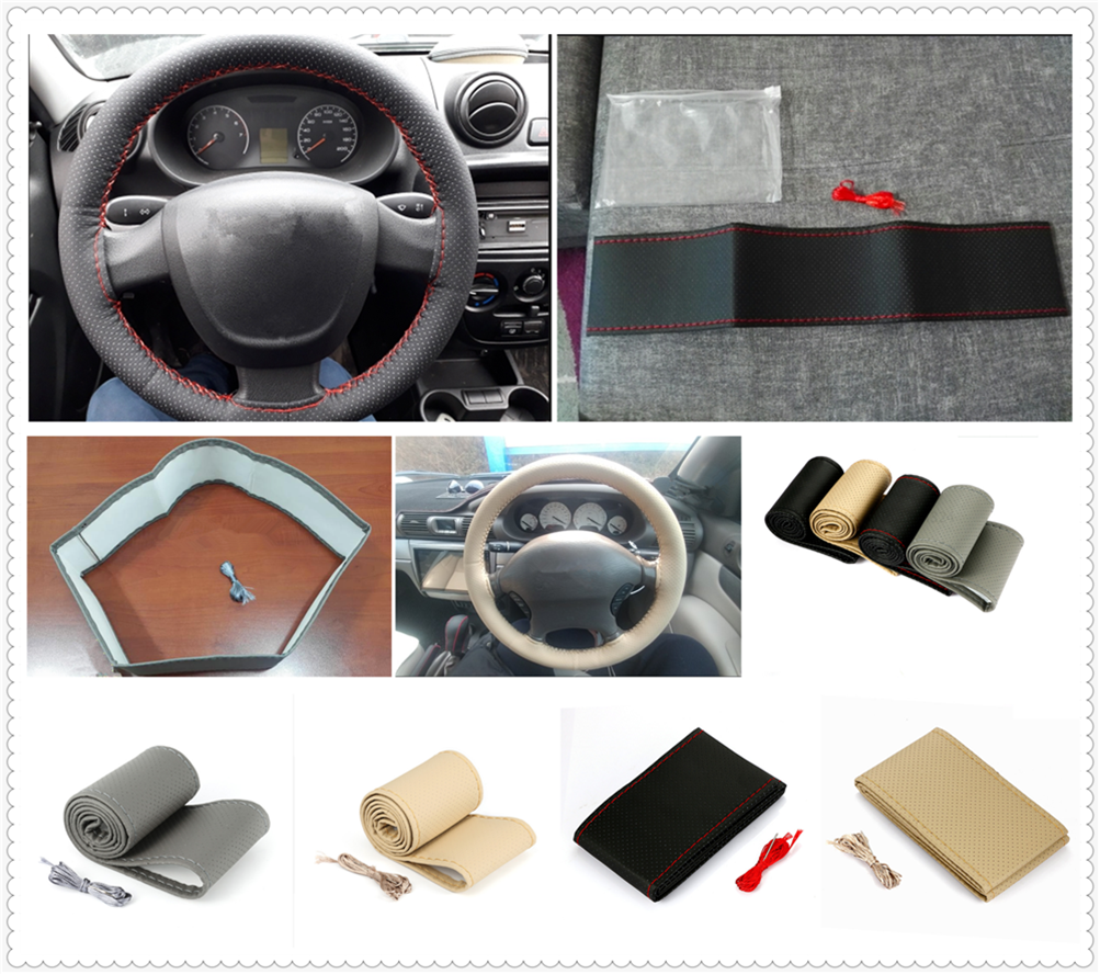 Auto parts steering wheel cover woven hand sewing set car leather for BMW all series <font><b>1</b></font> 2 3 <font><b>4</b></font> 5 6 7 X E F-series E46 E90 F09 image