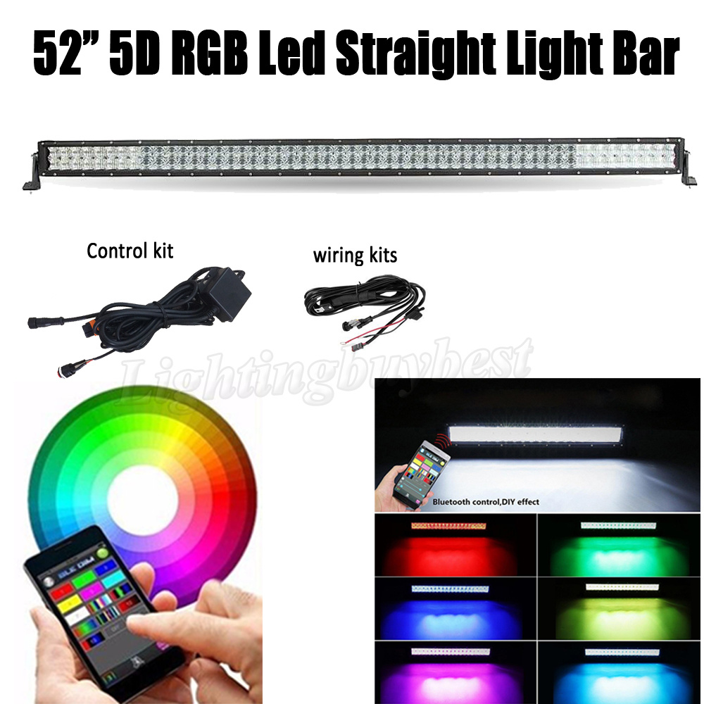 52 INCH 300W 5D RGB LED Straight Work Light Bar Combo For CREE chips Offroad ATV SUV Driving 4X4 4WD Boat Bluetooth App Control 10pcs cree chips 60w 7 led light bar offroad combo beam led work light driving lamp for truck suv boat atv 4x4 4wd 12v 24v