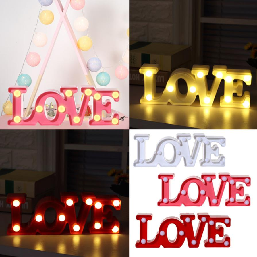 2018 Love Alphabet Lights LED Light Up White Plastic Letters Standing Hanging Night Ligh ...