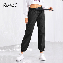 ROMWE Pocket Side Drawstring Waist Pants Women Casual Autumn Fashion Bottoms Female Sporty Elastic Waist Trousers