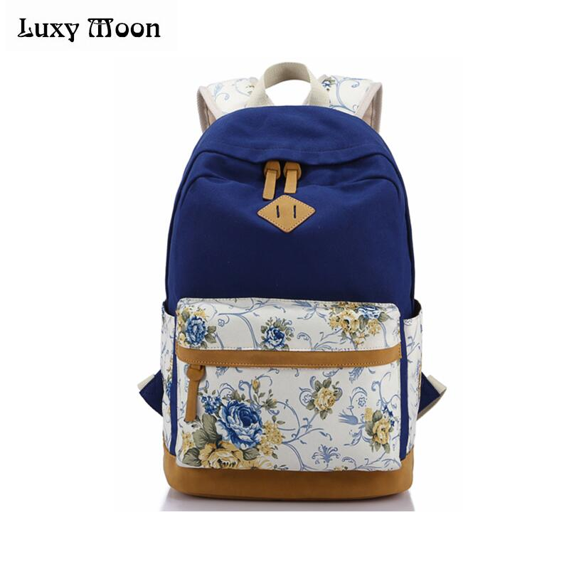School Canvas Backpack Women Printing Students Book Bag Teenager Girl Shoulder Bag 2017 Female College Student Bag ZD605 chic canvas leather british europe student shopping retro school book college laptop everyday travel daily middle size backpack