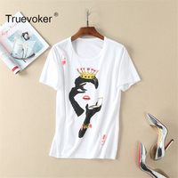 Truevoker Summer Designer Top Women S Short Sleeve Fashion Lady Printed Gold Beading Casual White Tee